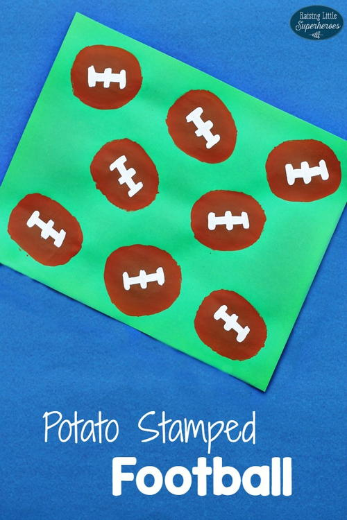 Potato Stamped Football Craft for Kids