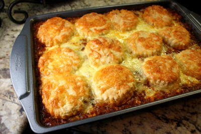 Biscuit-Topped Ground Beef Casserole