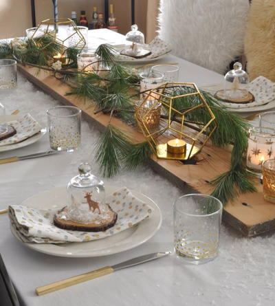 Rustic and Snowy Table Setting Ideas