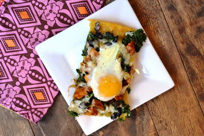 Sweet Potato Kale and Black Bean Breakfast Pizza