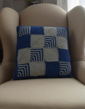 Mitered Square Crochet Pillow