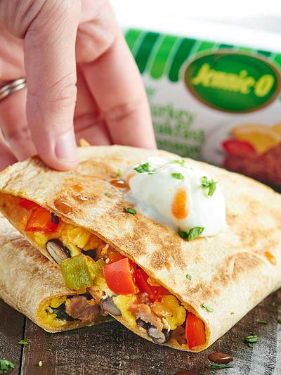 Egg, Cheese and Sausage Breakfast Quesadillas
