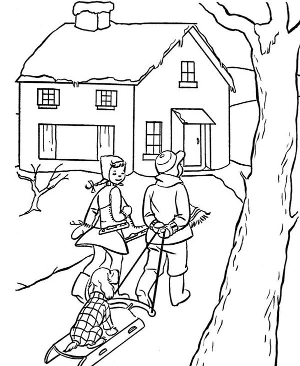 Vintage Christmas Scene Coloring Page