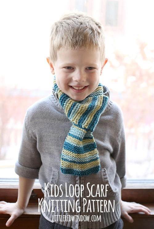 Kids Loop Scarf Knitting Pattern AllFreeKnitting.com