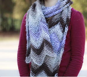 Crochet Scarf with Chevron Pattern