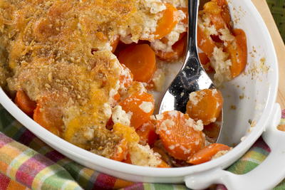 Cheddar Crusted Carrot Casserole