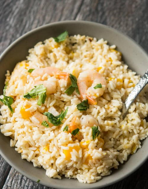 Slow Cooker Coconut Rice and Mango Shrimp