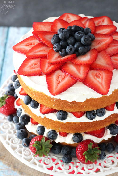 Fresh Berry Vanilla Layered Cake