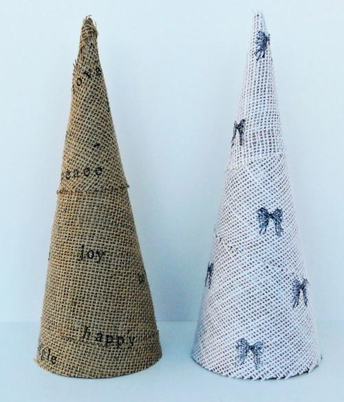 Stamped Burlap Mini Christmas Trees
