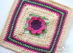 3D Flower Crochet Granny Square