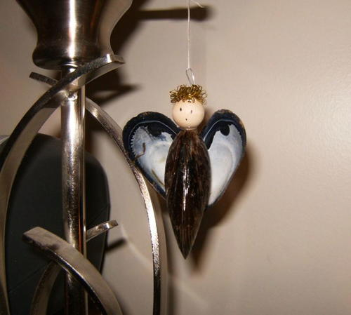 Mussel Shell Angel Ornament