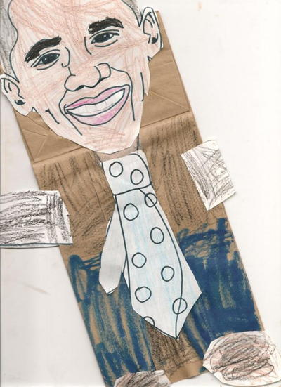 Barack Obama Paper Bag Puppet