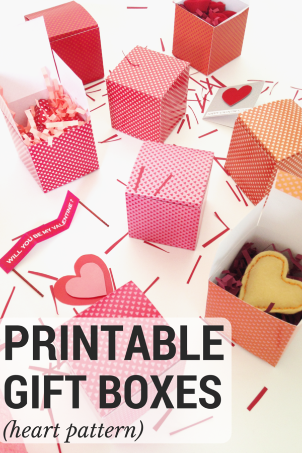Heart-Patterned Printable Boxes