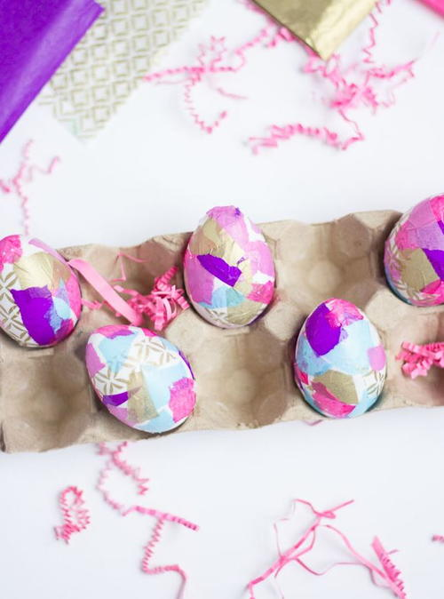 Decorating Easter Eggs with Tissue Paper
