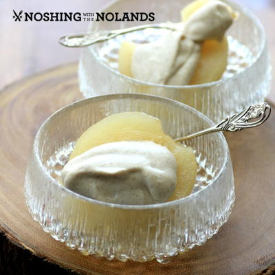 White Wine Poached Pears with Cinnamon Mascarpone