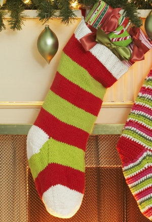 Red and Green Striped DIY Christmas Stocking