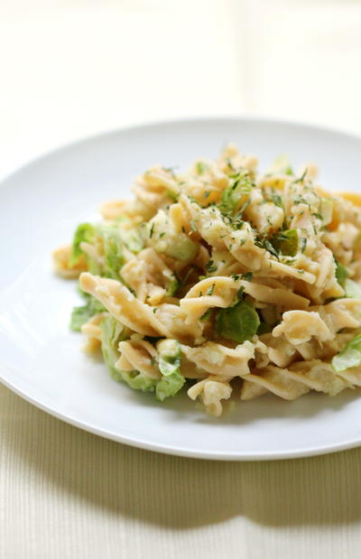 Rotini Pasta Alfredo With Shaved Brussels Sprouts