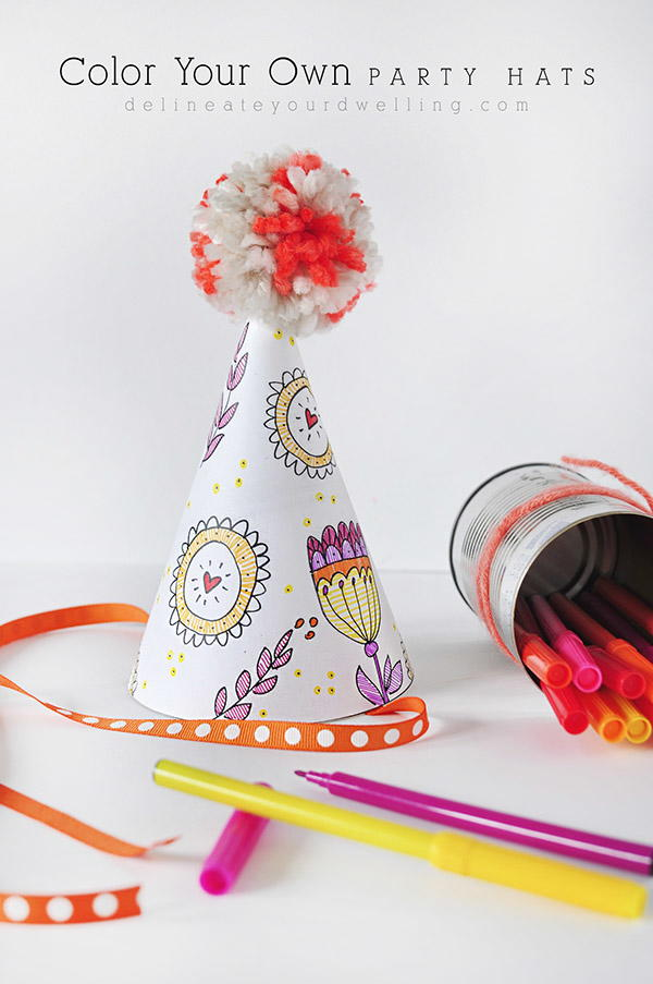 Coloring book pages party hat for Coloring pages of birthday hats