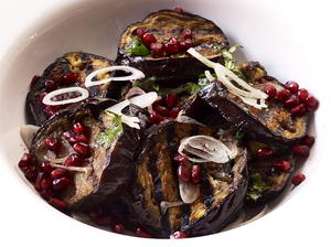 Grilled Eggplant with Pomegranate Vinaigrette