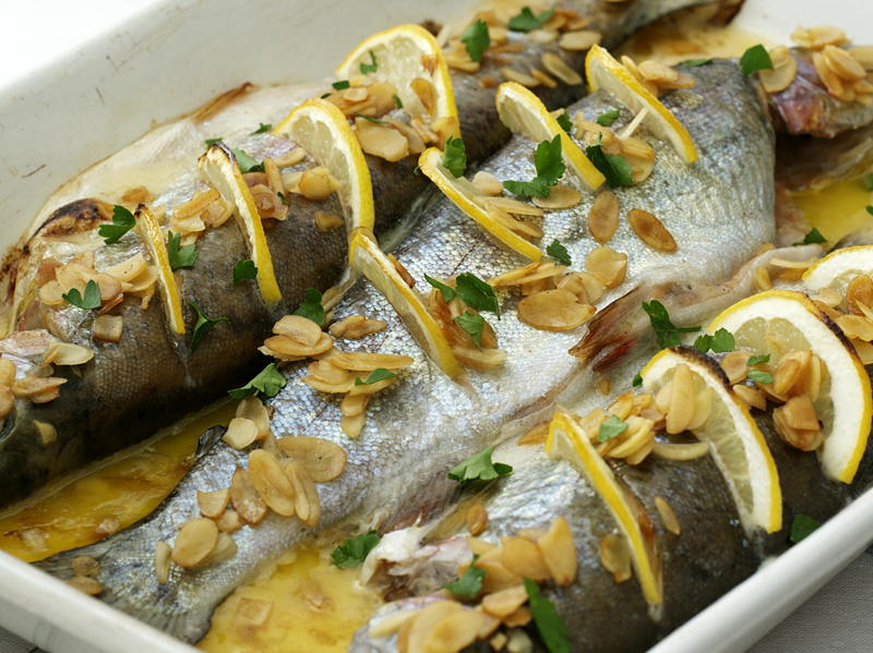 Baked trout with almonds for Prime fish brunch