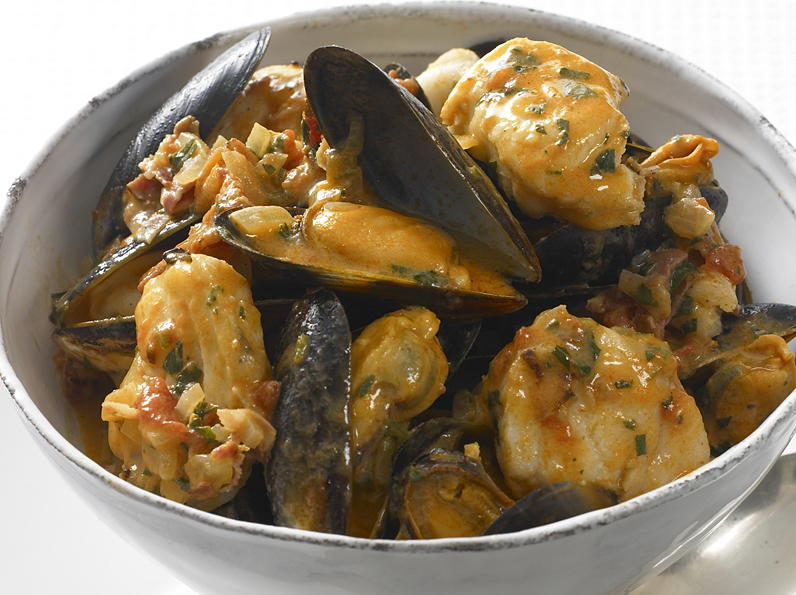Monkfish with mussels and pancetta for Monk fish recipes