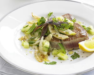Tuna with Warm Cucumber and Fennel Salad