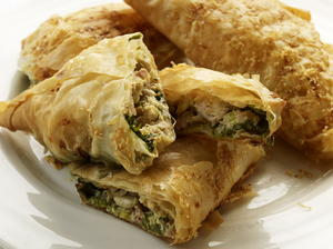 Smoked Chicken and Spinach Filo Triangles