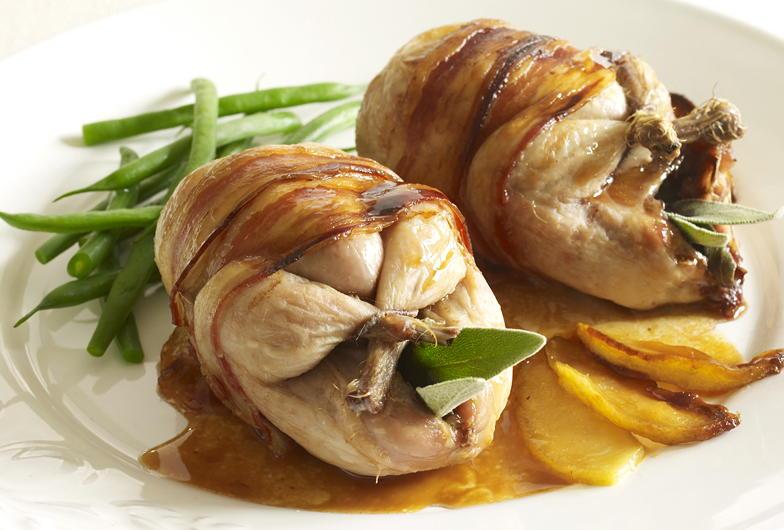Roast Quail with Apple and Calvados | Cookstr.com