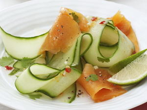 Asian Cucumber Salad with Smoked Salmon