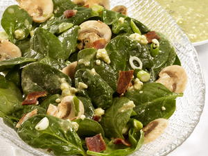 Spinach and Bacon Salad with Blue Cheese Dressing