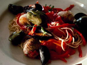 Pasta with Clams Mussels and Sausage