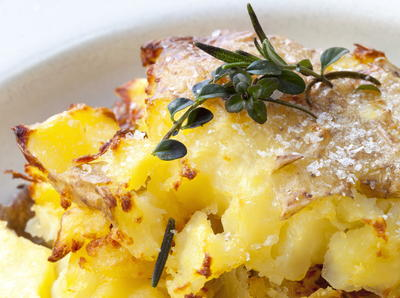 Crushed Potatoes with Parsley  Thyme