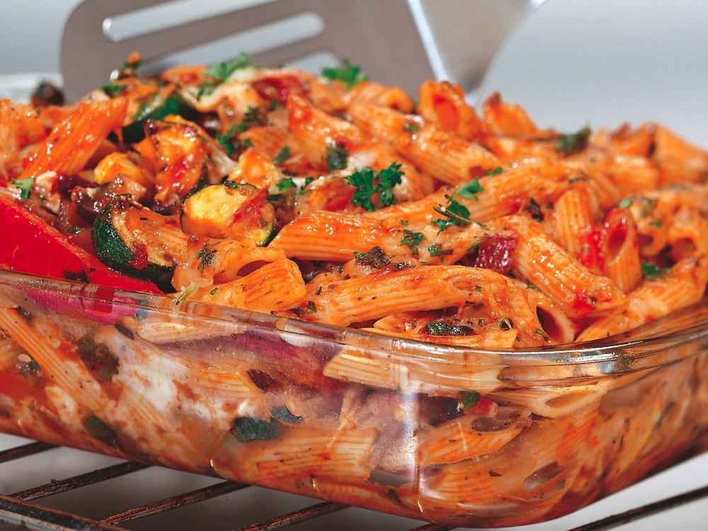 Three Cheese Baked Penne With Roasted Vegetables Cookstr Com