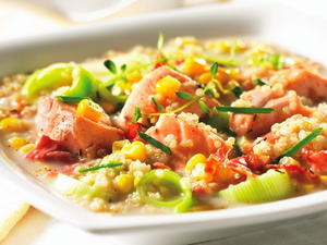 Salmon Stew with Corn and Quinoa