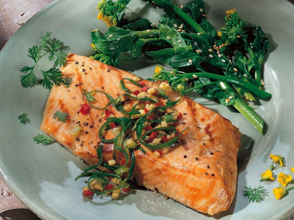 Grilled Salmon with Ginger and Green Onion Relish | Cookstr.com