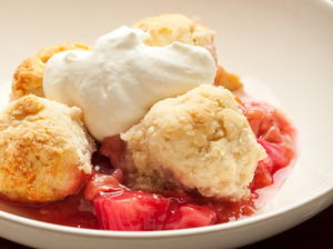 Rhubarb Strawberry Cobbler with Candied Ginger
