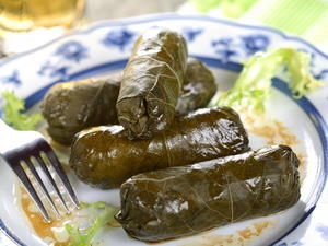 Grape Leaves Stuffed with Pine Nuts, Currants, and Golden Raisins