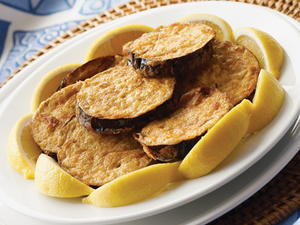 Fried Eggplant with Lemon Wedges