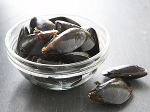 Fresh Mussels Steamed Open in Wine and Flavorings