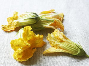 Squash Blossoms Stuffed with Herbed Cheese in Fritter Batter
