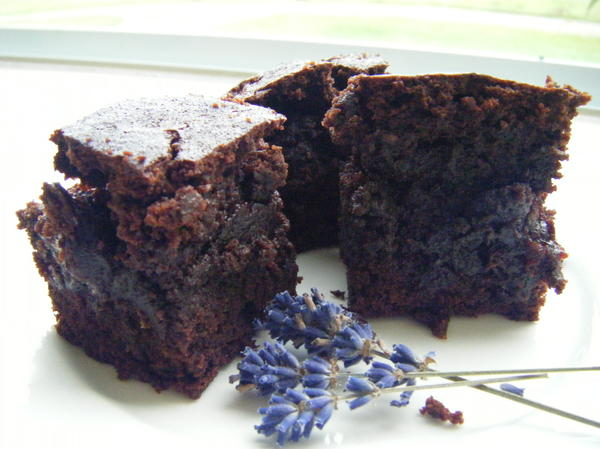 Lavender Brownies with Cherries