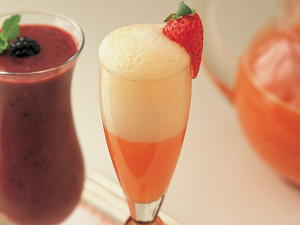 Fresh Orange Juice Spiked with Strawberry Puree