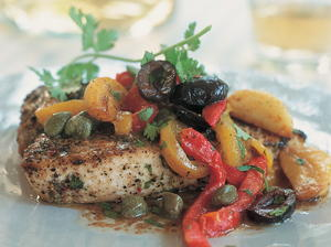 Broiled Swordfish with Browned Butter, Candied Garlic, Roasted Peppers, and Capers