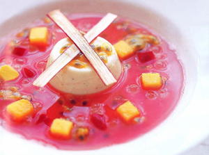 Rhubarb Consommé with Summer Berries