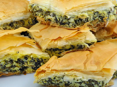 Spinach Dill and Feta Baked in Phyllo Dough
