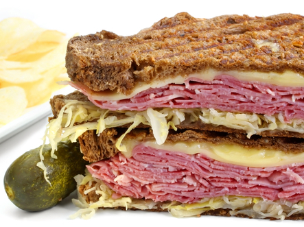 Corned Beef with Muenster Cheese and Wilted Cabbage