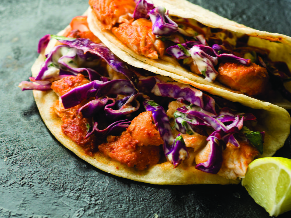 Guajillo chile fish tacos with cabbage slaw for Slaw recipe for fish tacos