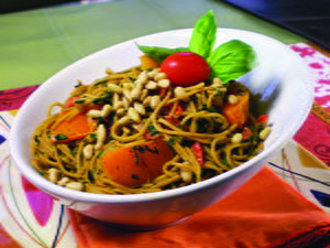 Angel Hair Pasta with Chard and Bell Peppers
