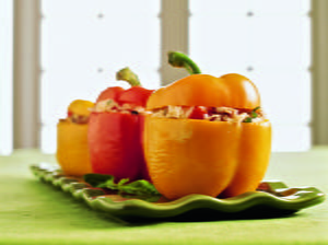 Tricolor Stuffed Peppers with Sausage