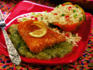 Crumb-Coated Halibut with Tomatillo Salsa